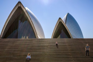 Family in front of the Sydney Opera House, Sydney Australia