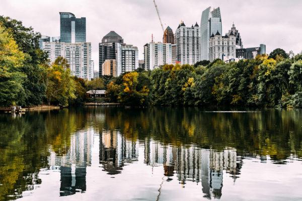 Atlanta City Skyline as scene from Piedmont Park.