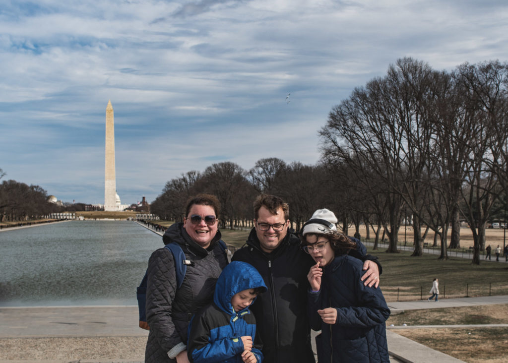 Family photo in Washington DC on the National Mall