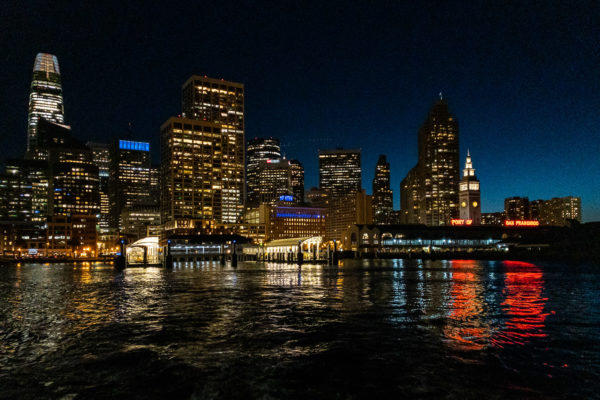 View of San Francisco ferry building and skyline from water