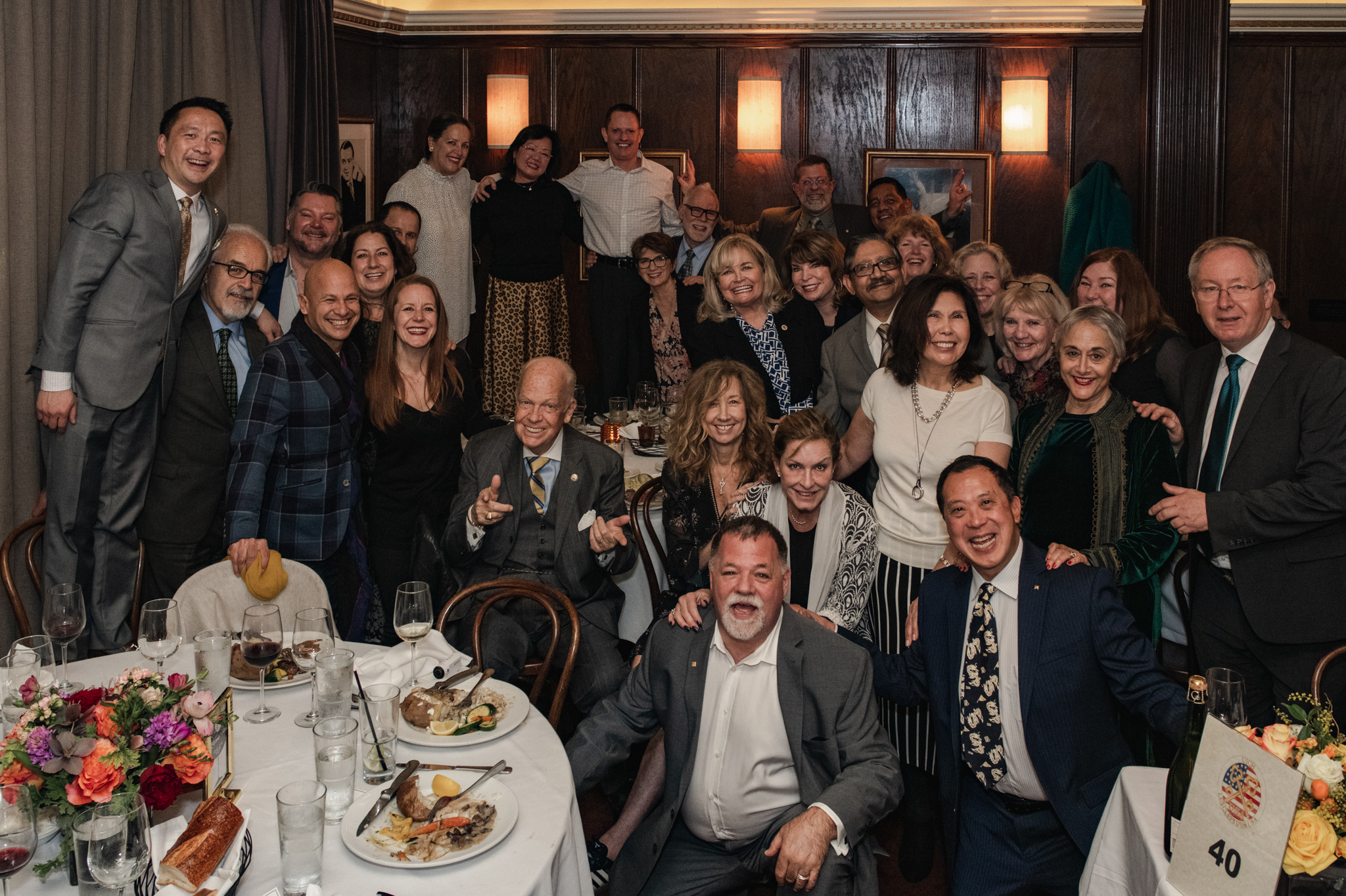 Group photo from the NCCA retirement dinner in San Francisco at John's Grill
