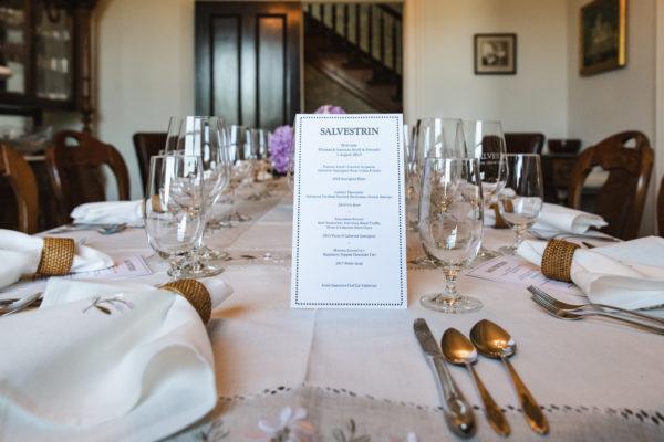 Menu of Thomas Arvid Salvestrin artists dinner in Napa Valley