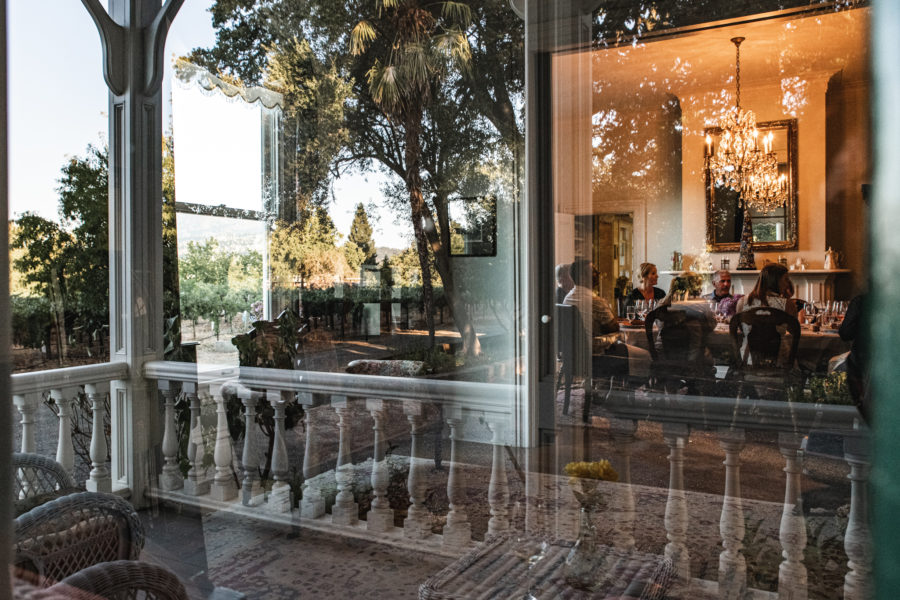 Outside looking in at the Thomas Arvid artists dinner hosted by Salvestrin Winery in St. Helena, CA Napa Valley