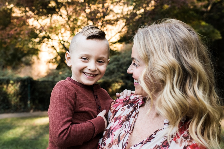 Mom looks at son during Bay Area Holiday Mini Session