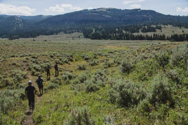 A family goes on a hike in Yellowstone National Park